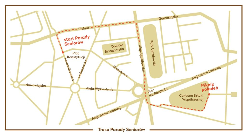 Parada Seniorów 2014 mapa przemarszu
